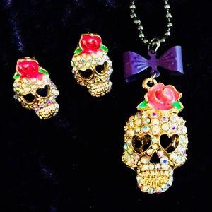 Jewelry - Sugar Skull Bling Earring & Necklace Set